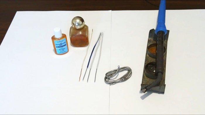 Пайка скруток из алюминиевого и медного провода