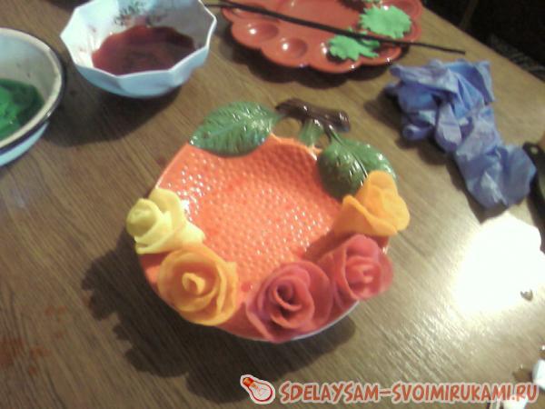 Чайная роза из ватных дисков