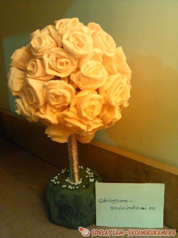 Цветочное  дерево из гофрированной бумаги