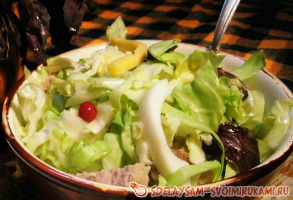 Заправка для салата из свежей капусты с чесноком и лимонным