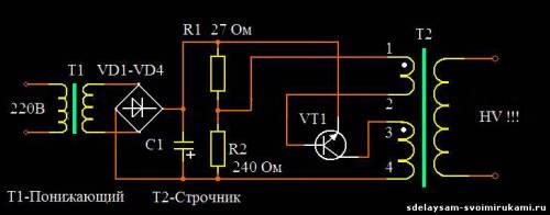 Строчник на одном транзисторе.  С этим устройством знакомы наверное все, кто занимался когда-либо высоковольтной...