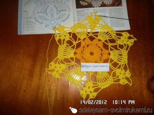 Вязание салфетки из толстых ниток