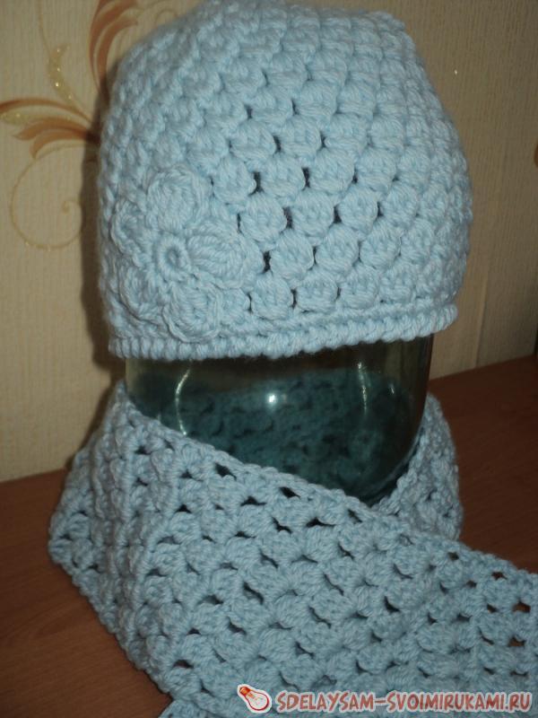 Вязание крючком комплекта – шапочки и шарфа