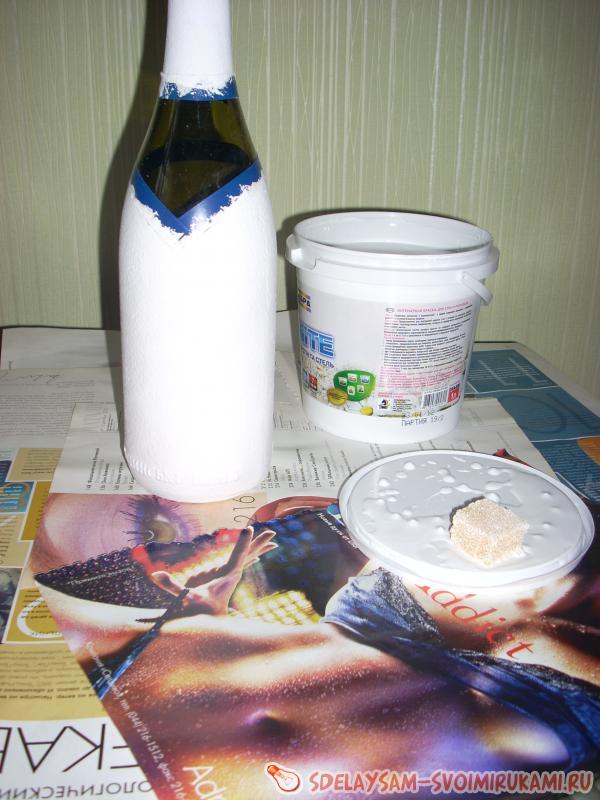 Оформление свадебных бутылок: простые мастер-классы по
