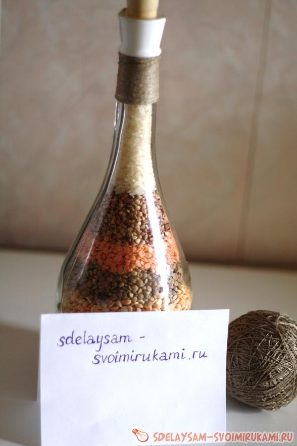 Бутылка с крупой