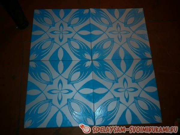 Роспись потолочной плитки акриловой краской