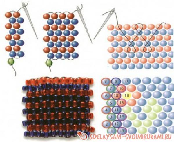 Кубик из бисера, схема плетения