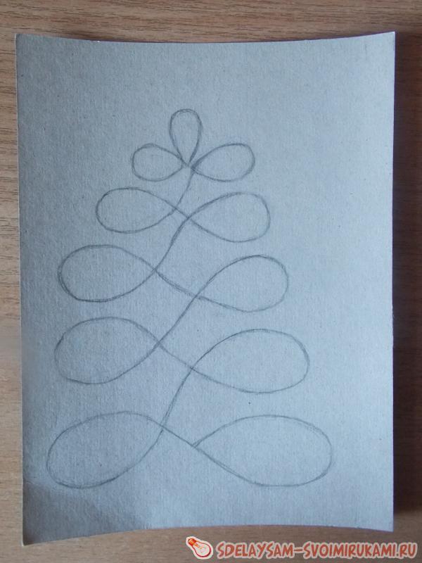 Аппликация «Новогодняя елочка» из пряжи