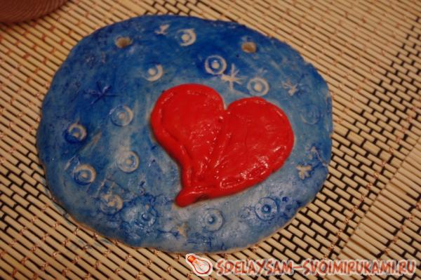 Wall panel of salt dough for Valentine's Day
