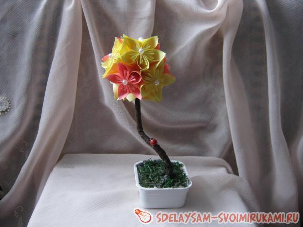 Цветочная кусудама-дерево