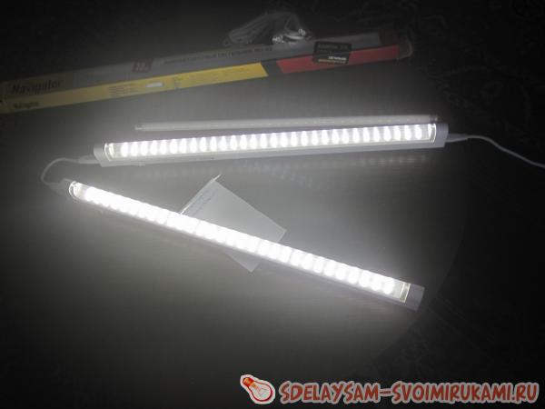 светодиодный светильник в работе