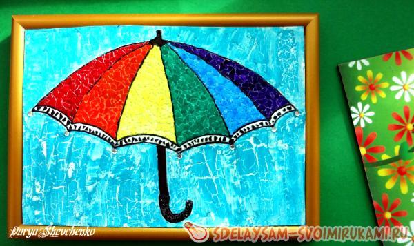 Мозайка из яичной скорлупы «Зонтик цвета радуги»