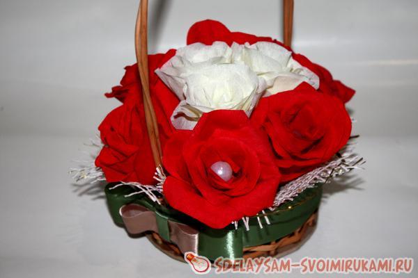 Корзинка с цветами из гофробумаги