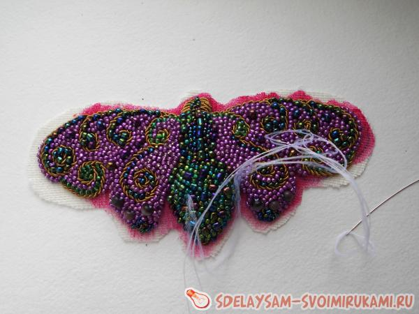 moth bead brooch
