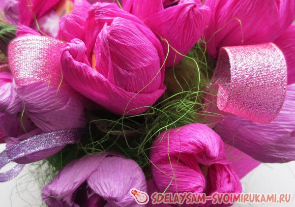 Корзины с цветами из конфет своими руками
