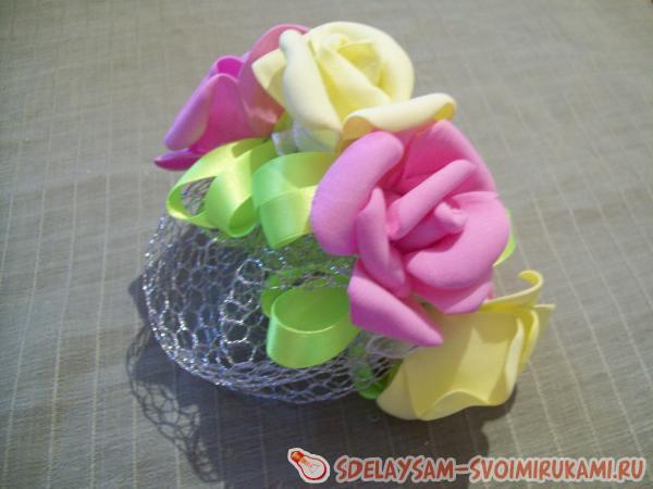 Сетка для волос с розами из фоамирана. Юлия. Мастер-класс
