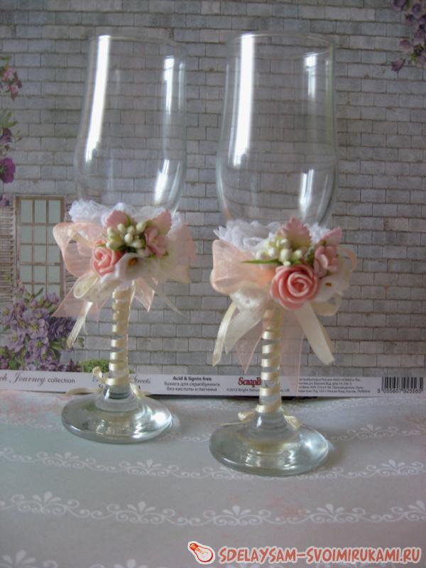 Украшение свадебных бокалов своими руками: 100 мастер