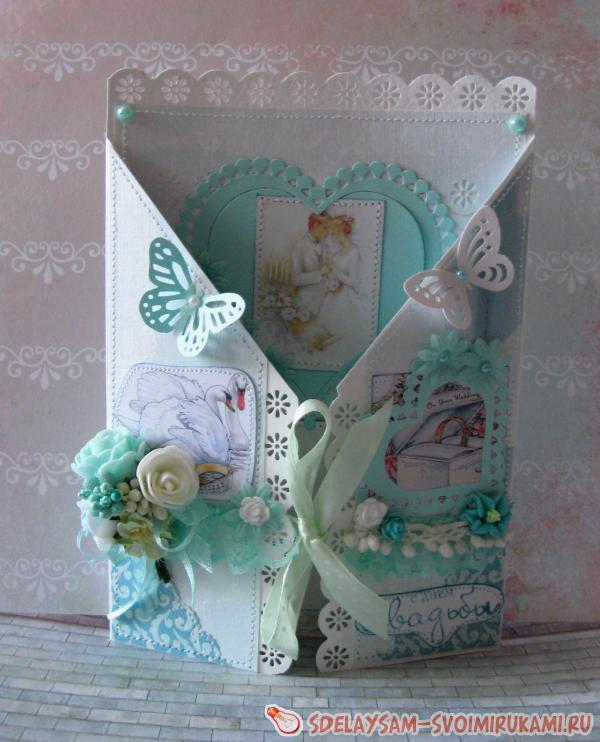 Раскладная фиолетовая открытка «С Днем Свадьбы»