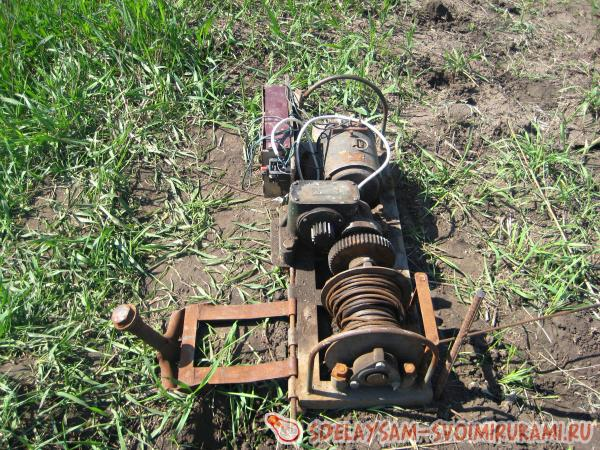 Self-made plow for plowing the land