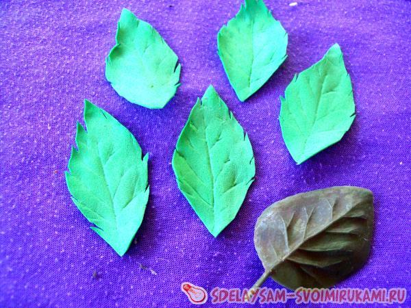 Листья из фоамирана: как сделать без молда, Мастер-класс из фоамирана