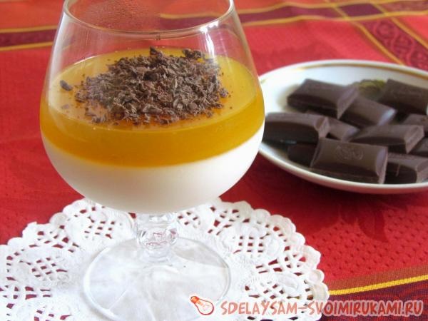 Панакота с апельсиновым соком и шоколадом