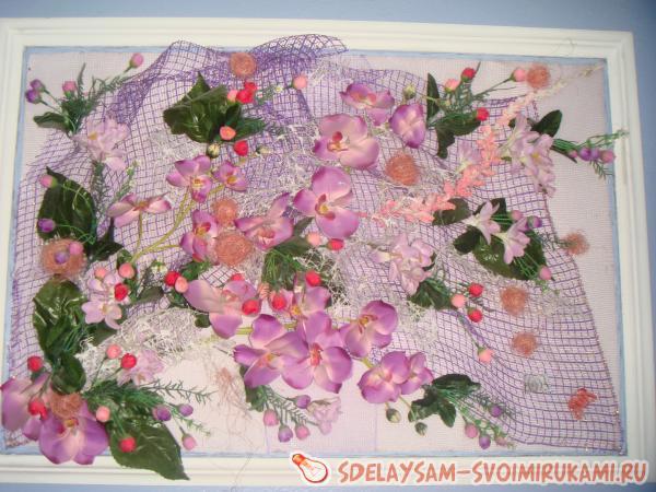 Картины из искусственных цветов мастер класс