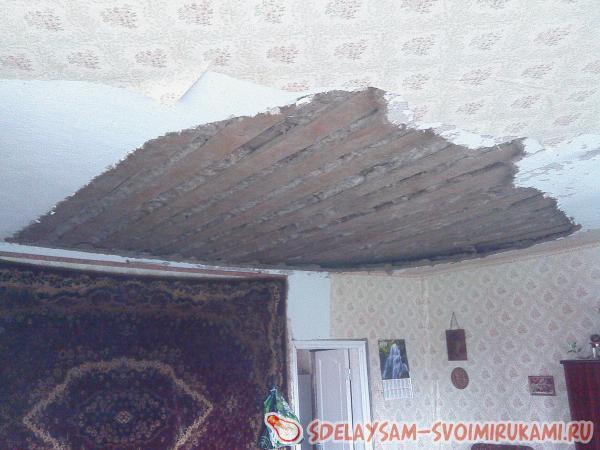 снимать с потолка оставшуюся глину