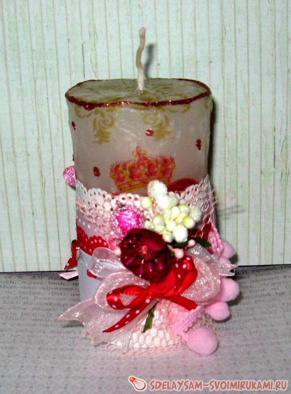 Идеи быстрого декора свечей к дню Святого Валентина - YouTube