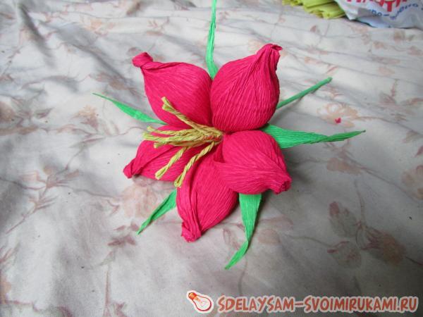 Галерея: большие цветы из гофрированной бумаги (25 фото)