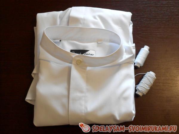 Как переделать мужскую рубашку в женскую блузку с воланами