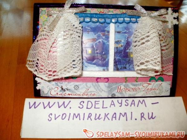 New Year card Winter window