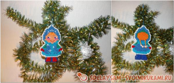 Двухсторонняя Снегурочка (ёлочная игрушка)