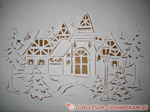 Новогоднее украшение окон из бумаги