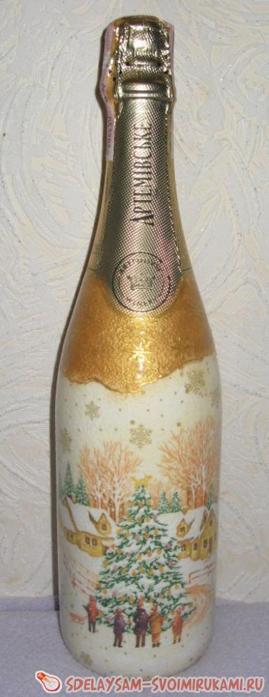 Декупаж новогодней бутылки шампанского