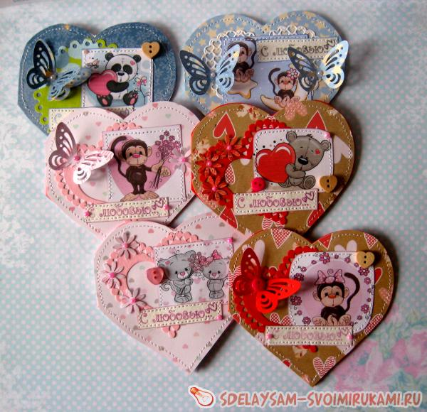Валентинки в форме сердечка к Дню Всех Влюбленных