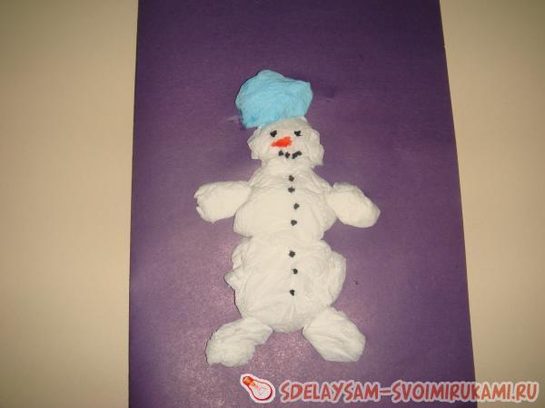Объемная аппликация Веселый снеговик