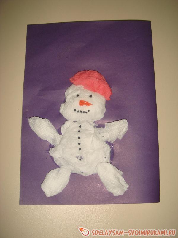 Объемная аппликация «Веселый снеговик»