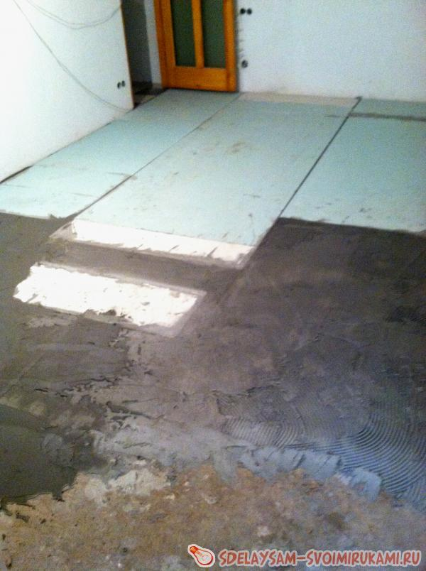 laying tiles on infra-red floors
