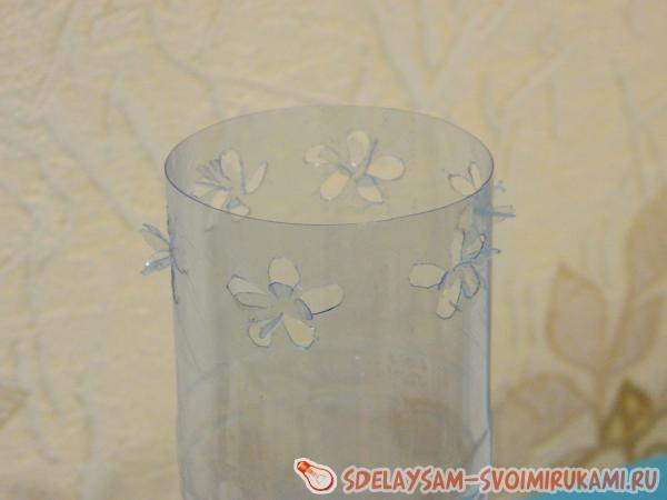 Vase from a plastic bottle