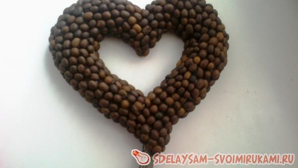 Объемное кофейное сердце в горшочке