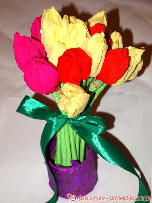 Букет тюльпанов из гофрированной бумаги | Мастер-класс ... Тюльпан из Гофрированной Бумаги