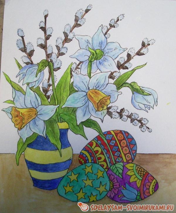 Как нарисовать пасхальный натюрморт
