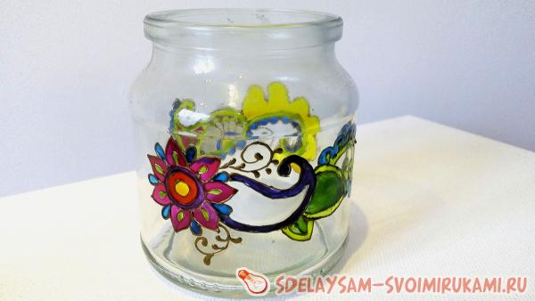 Stained glass painting jars