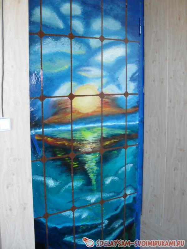 Рисуем морской закат и декорируем старую дверь