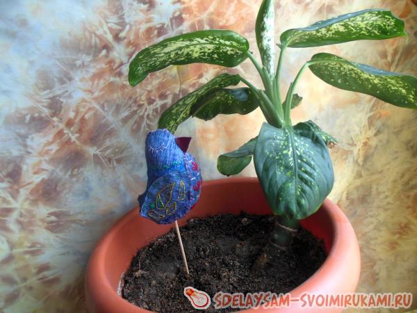 Птица счастья - украшение для комнатных растений