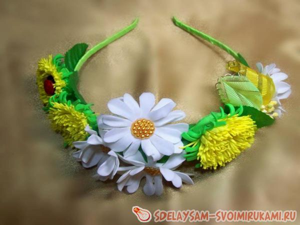 Ободок - одуванчики (цветы) из фоамирана своими руками