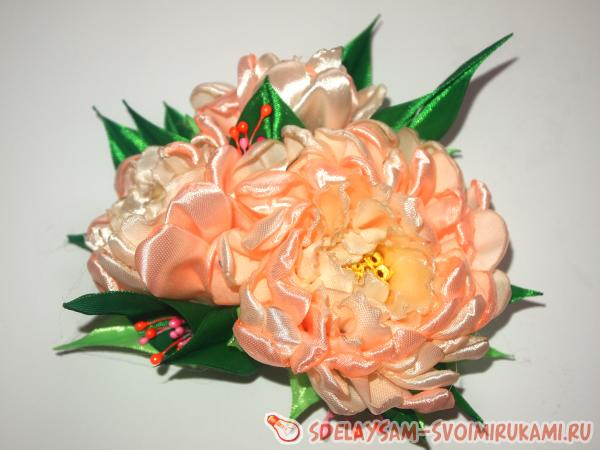 peonies from satin ribbons