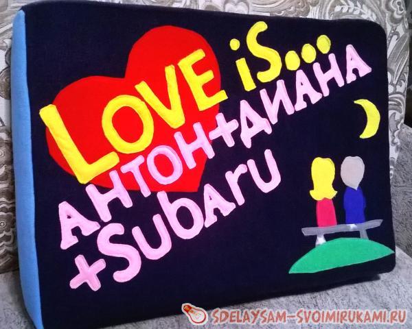 Декоративная подушка Love is...