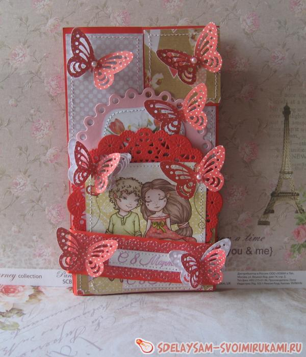 Complicated postcards for March 8 scrapbooking