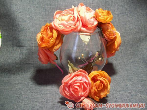 Комплект «Сюита», брошь с ободком с цветами из шёлка